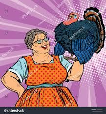 thanksgiving symbol holiday grandma live turkey pop art stock illustration 534326557