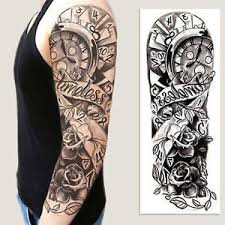 full arm flower rose clocks tribal tattoo temporary stickers body