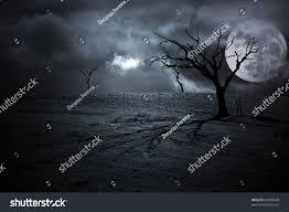 halloween full moon background halloween dark scenery trees full stock illustration