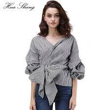 wrap shirts blouses 2017 summer shoulder blouse v neck puff sleeve plaid