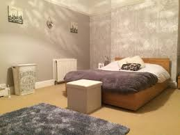 bedroom makeover shades of grey feature wall using josette