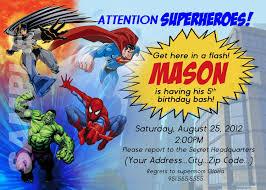 Birthday Invitation Card Sample Wording Superhero Birthday Invitations Templates Birthday Invitations