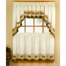Kitchen Valances And Tiers by Cabin Style Kitchen Curtains Wildlife Moose Kitchen Curtain