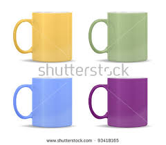 different colors of purple mugs different colors yellow green blue stock illustration 93418165