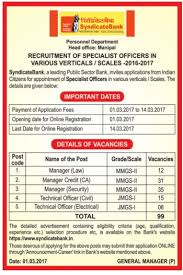 syndicate bank specialist officers recruitment 2017 govt job guides