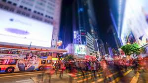 Modern City by Hong Kong Jan 16 2015 Night View Of Modern City Crowded Street