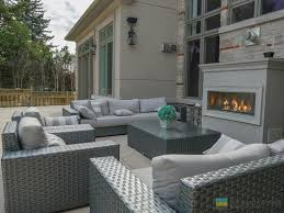 stone deck fireplace stone veneer tempered glass railings with
