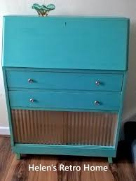 bureau turquoise upcycled handpainted vintage writing bureau drinks cabinet