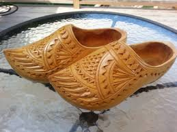 dutch hand carved wedding wooden shoes clogs vintage from trip