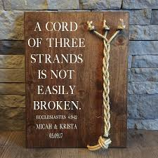 3 cords wedding ceremony a cord of three strands sign a cord of 3 strands ecclesiastes 4