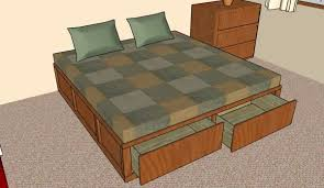 attractive king size bed frame plans with storage and bedroom