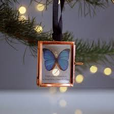 personalised christmas tree decoration frame butterfly by made