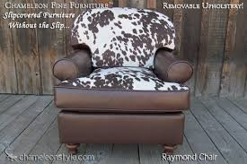 Cowhide Chair Cushions Raymond Style Slipcovered T Cushion Sofa Chameleon Fine Furniture