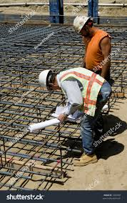 Rebar Worker Foreman Checks Rebar Cage Bridge Foundation Stock Photo 1281869