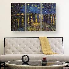 starry night over the rhone by vincent van gogh triptych 3 starry night over the rhone by vincent van gogh triptych 3 piece