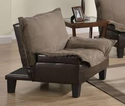 Microfiber Armchair 178 97 Caroline Two Tone Microfiber Chair Bed In Brown Chairs