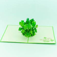 3d pop up card for her him fl016 lucky clover leaf card 2016 3d