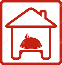 House Silhouette by Icon With House And Dish On Table Silhouette Royalty Free