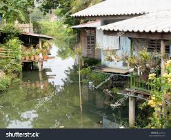 simple thai homes beside bangkok canal stock photo 278752