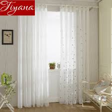 snowflake curtains voile white color modern simple embroidery yarn