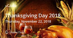when is thanksgiving day 2018 timer