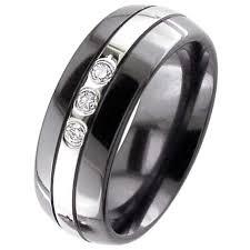 black zirconium wedding bands dome profile black diamond zirconium wedding ring cz diamond set