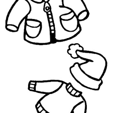 warm clothes for kids in winter clothing colouring page