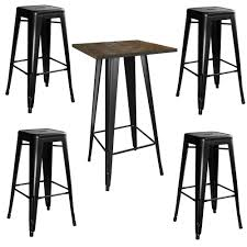 Bar Table And Stool Set Amerihome Retro Style Chrome Bar Table Set In Back With Adjustable