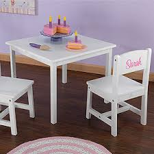 personalized kids table and chair set white