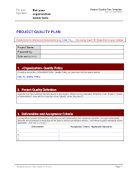 quality plan template best business template