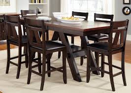 7 piece trestle gathering table with counter height chairs set by