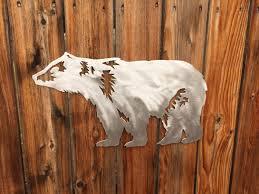 bear wall art rustic home decor nursery decor bear mountain