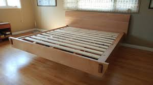 Beech Bed Frame Floating Platform King Size Bed Whittler S Woodworking
