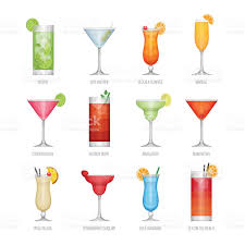 cocktail vector flat icons set of popular alcohol cocktail stock vector art