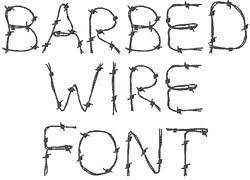 barbed wire font embroidery alphabet from concord collections