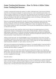 Resume For Software Testing Experience Game Tester Resume Free Resume Example And Writing Download