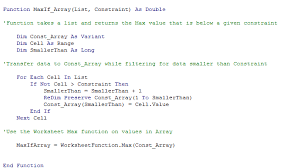 trying to code an array function in vba excel to works as a maxif