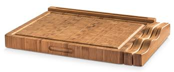 end grain bamboo cutting board workstation with juice trap