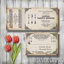 rehearsal brunch invitations vintage brunch invitation steunk ticket invitation