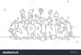 sketch little people big word spring stock vector 562087906