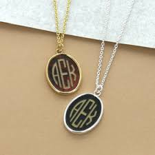 Monogram Pendant Necklace Monogram Necklace Silver Circle Monogram Necklace Name Plates