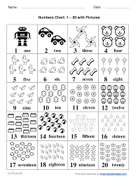 counting numbers 1 to 20 numbers chart udl strategies