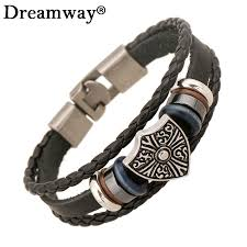 leather bracelet with beads images 2017 new shield black bracelets genuine cowhide leather bracelet jpg