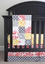 custom nursery bedding yellow crib ux ui designer and gray