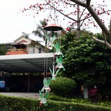 outdoor hummingbird wind chimes home garden decor solar color