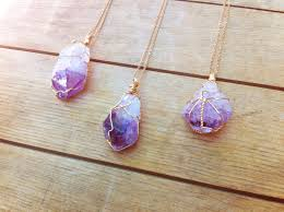 diy stone pendant necklace images Raw amethyst point pendant crystal necklace wire wrapped jpg