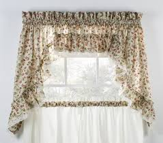 Pictures Of Window Curtains Clarice Colored Leaf Print Ruffled Swags Window Curtains Pair
