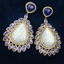 diamond chandelier earrings moonstone tanzanite and diamond chandelier earrings set in