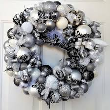 black white silver glass wedding ornament wreath