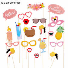 photo booth supplies 21pcs flamingo tropical summer photo booth props hawaii carnival
